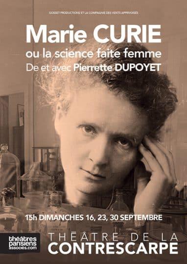 Marie Curie, par Pierrette Dupoyet, au Théâtre de la Contrescarpe